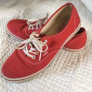Lightly worn red Vans sneaker
